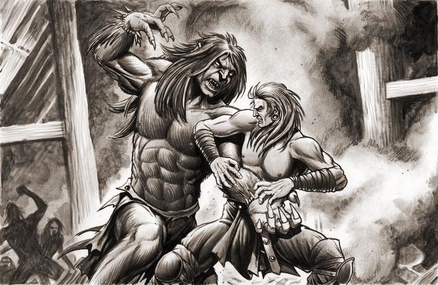 beowulf fighting grendel drawing wwwpixsharkcom